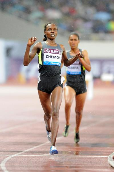 Milcah Chemos wins the steeplechase at the Diamond League meeting in Shanghai (Errol Anderson)