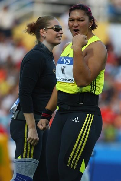 Valerie Vili punches the air after unleashing a massive 21.07m throw (Getty Images)