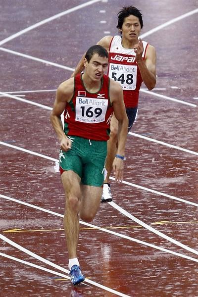 Aliaksandr Linnik of Belarus in action in the men's 200m heats (Getty Images)