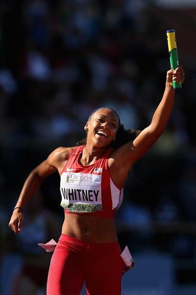 Kaylin Whitney anchors the US 4x100m team to gold at the IAAF World Junior Championships, Oregon 2014 (Getty Images)