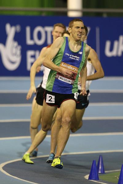 Lee Emanuel winning the 1500m at the 2014 British Indoor Championships in Sheffield (Getty Images)