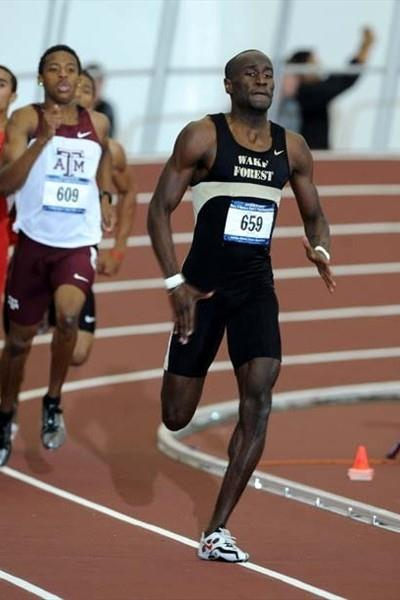 Michael Bingham of Wake Forest in the 400m at the 2009 NCAA Indoors (Kirby Lee)