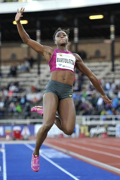 Tianna Bartoletta at the 2014 IAAF Diamond League meeting in Stockholm (DECA Text & Bild)