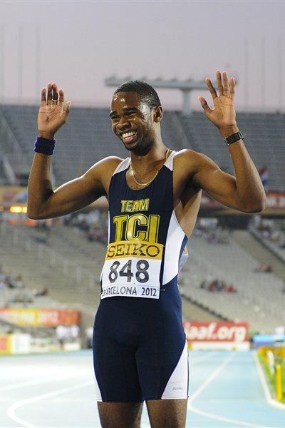 Delano Williams of Turks and Caicos Islands celebrates after winning the Men's 200 metres Final on the day four of the 14th IAAF World Junior Championships in Barcelona 2012 (Getty Images)