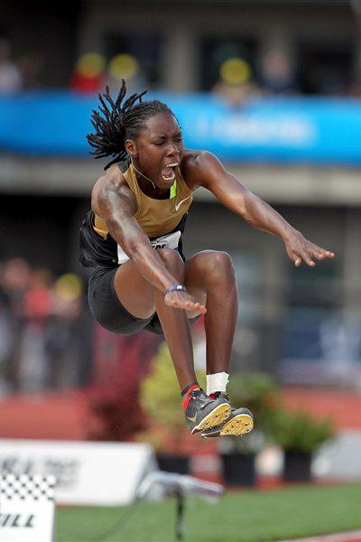 Brittney Reese sailing to a 7.15m world lead in Eugene (Getty Images)