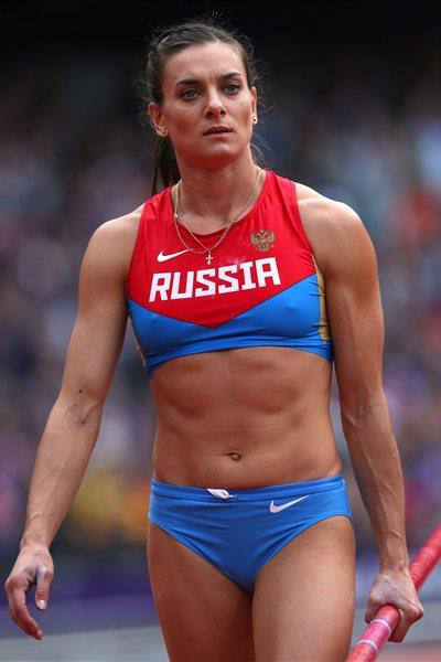 Yelena Isinbayeva of Russia competes in the Women's Pole Vault qualification on Day 8 of the London 2012 Olympic Games at Olympic Stadium on August 4, 2012 (Getty Images)