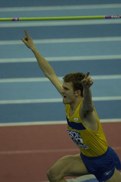 Stephan Holm (SWE) celebrates winning the men high jump (Getty Images)