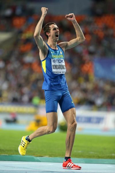 Bogdan Bondarenko celebrates his victory at the 2013 IAAF World Championships (Getty Images)