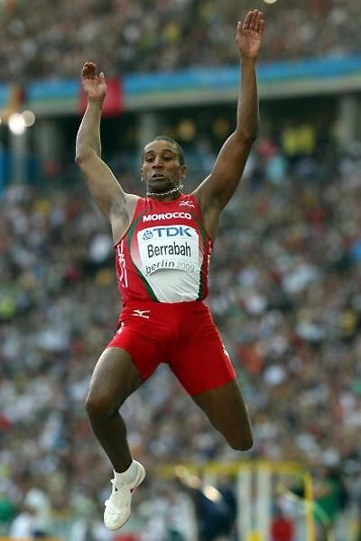 Yahya Berrabah of Morocco long jumping in the final in Berlin (Getty Images)