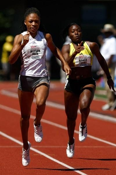 Allyson Felix sizzles to a 22.02w victory in Eugene (Getty Images)