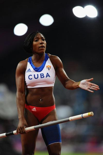 Yarisley Silva of Cuba prepares to vault at the London 2012 Olympic Games (Getty Images)