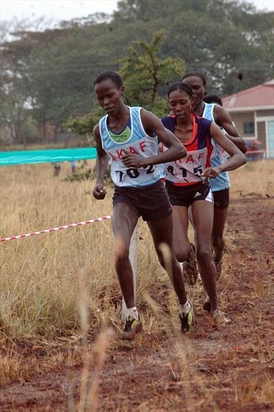 Lynet Chepkurui on the way to winning the women's eight-kilometre race at the 2009 Kenyan Armed Forces Cross Country Championships at the Kahawa Garrison in Nairobi (Elias Makori)