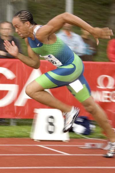 Wallace Spearmon in action in Lucerne (HP Roos)