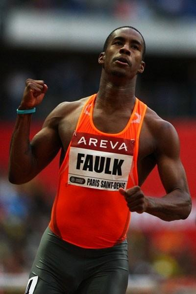 Dexter Faulk blasts to a 13.14 victory in the 110m hurdles (Getty Images)