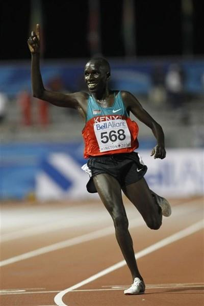 Dennis Masai crosses the line an emphatic winner of the men's 10,000m (Getty Images)