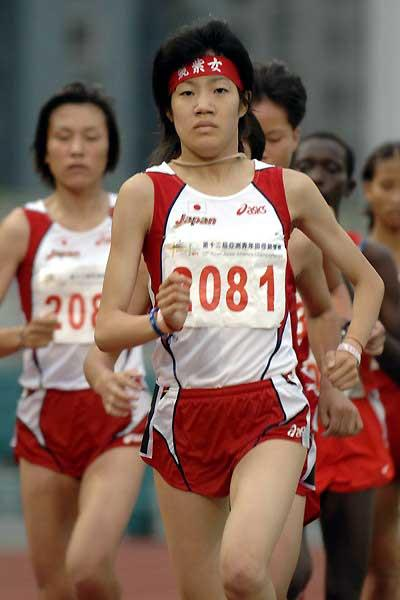Mio Fukahori on her way to a 3000m win at the Asian Juniors in Macau (Charlie Lee)