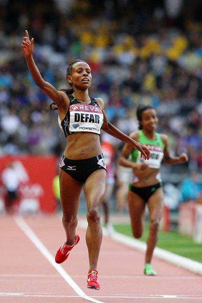 Ethiopia's Meseret Defar, who earned a 5000 metres victory in 14:29.52 - Meeting Areva, Paris (Errol Anderson)