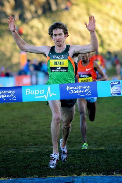 Garrett Heath wins the men's invitational race at the Bupa Great Edinburgh Cross Country (Mark Shearman)