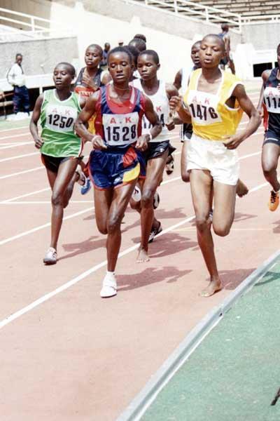 Olympic silver medallist Isabella Ochichi leads the 1500m semi-final - Kenyan Championships, Day One (Okoth)