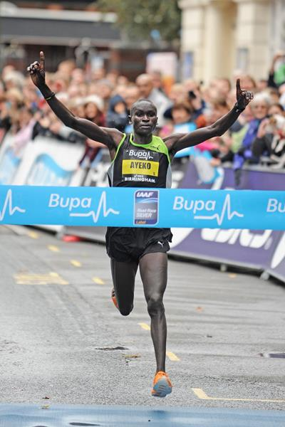 Uganda's Thomas Ayeko wins the Great Birmingham Run (Mark Shearman)