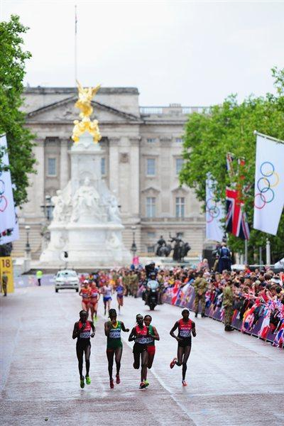 (L-R) Edna Ngeringwony Kiplagat of Kenya, Tiki Gelana of Ethiopia, Mary Jepkosgei Keitany of Kenya, Mare Dibaba of Ethiopia and Priscah Jeptoo of Kenya compete during the Women's Marathon on Day 9 of the London 2012 Olympic Games at The Mall on August 5, 2012  (Getty Images)