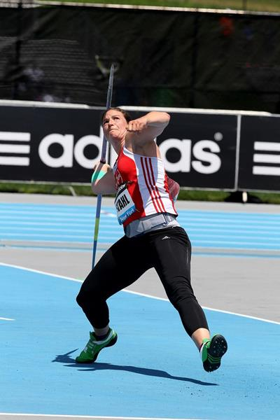 Linda Stahl at the 2014 IAAF Diamond League meeting in New York (Victah Sailer)
