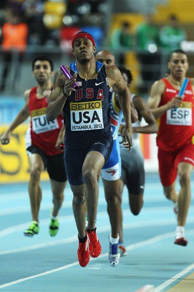 Frankie Wright of the United States competes in the Men's 4x400 Metres relay first round during day two - WIC Istanbul (Getty Images)