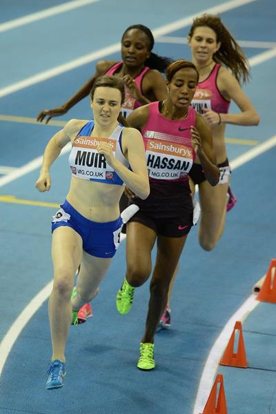 Laura Muir winning the 1500m at the 2014 Sainsbury's Indoor Grand Prix in Birmingham (Getty Images)