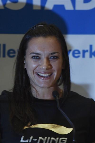 Yelena Isinbayeva at the DKB-ISTAF press conference (Bob Ramsak)