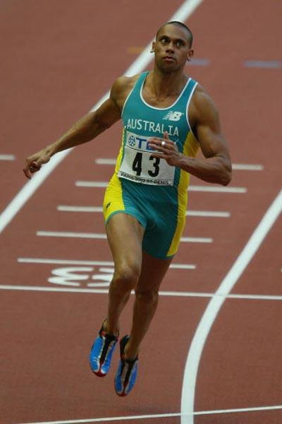 Patrick Johnson of Australia in the men's 100m heats (Getty Images)