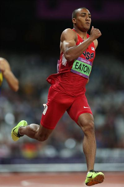 Ashton Eaton of the United States competes in the Men's Decathlon 400m Heats on Day 12 of the London 2012 Olympic Games at Olympic Stadium on August 8, 2012 (Getty Images)
