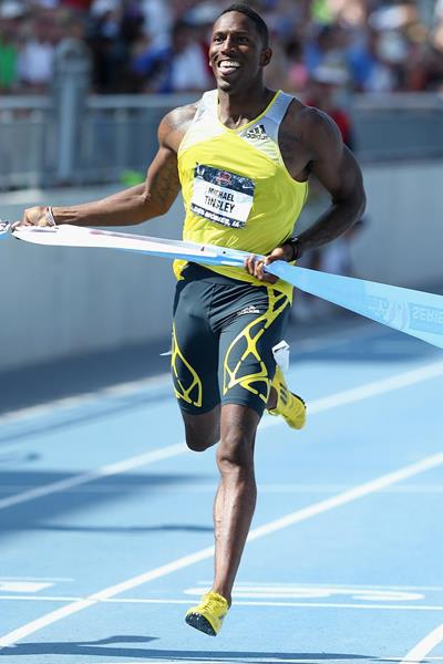 Michael Tinsley wins the 400m Hurdles at the 2013 US Championships (Getty Images)