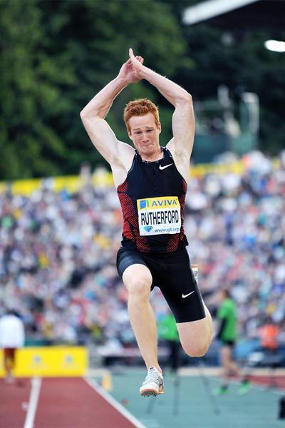 British long jumper Greg Rutherford in action at the London Diamond League (Mark Shearman)