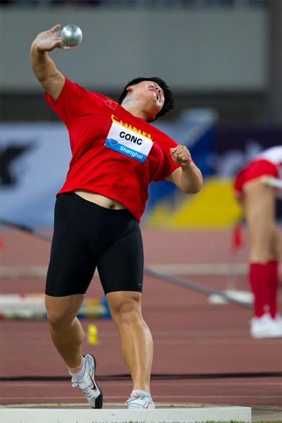 Gong Lijiao at the Shanghai Diamond League (Errol Anderson)