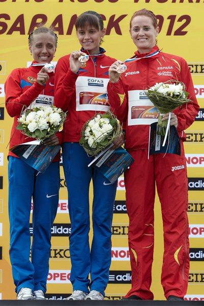The women's 20km podium: Elena Lashmanova, Olga Kaniskina and Maria José Poves (Getty Images)