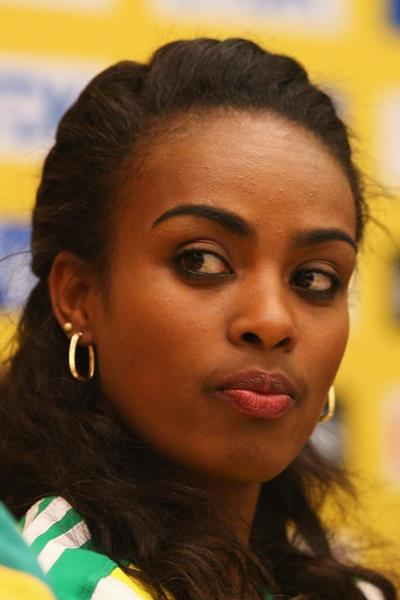 Genzebe Dibaba at the press conference ahead of the IAAF World Indoor Championships in Sopot (Getty Images)