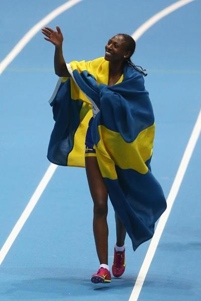 Abeba Aregawi after winning gold in the 1500m at the 2014 IAAF World Indoor Championships in Sopot (Getty Images)