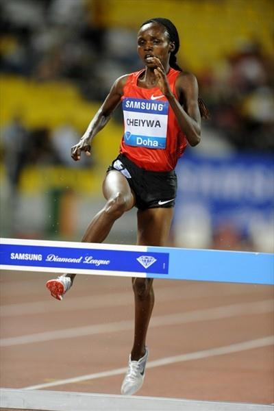 Milcah Chemos Cheiywa cruised to a quick 9:16.44 victory in the Doha 3000m Steeplechase (Jiro Mochizuki)