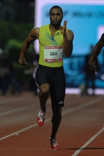 Tyson Gay en route to his 9.92 Zagreb meeting record (Zagreb meeting organisers)