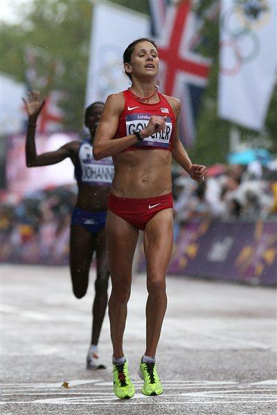 Kara Goucher a of the United States competes during the Women's Marathon on Day 9 of the London 2012 Olympic Games at The Mall on August 5, 2012 (Getty Images)