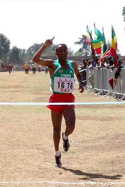 Abebe Dinkessa wins the 2005 Jan Meda Cross Country in Addis Ababa (Nahom Tesfaye)