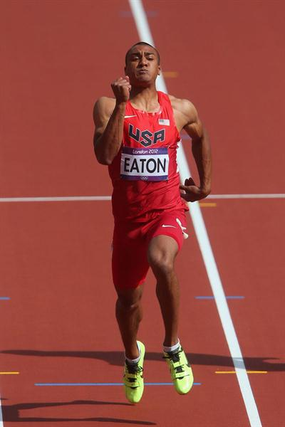 Ashton Eaton of the United States competes in the Men's Decathlon 100m Heats on Day 12 of the London 2012 Olympic Games at Olympic Stadium on August 8, 2012  (Getty Images)