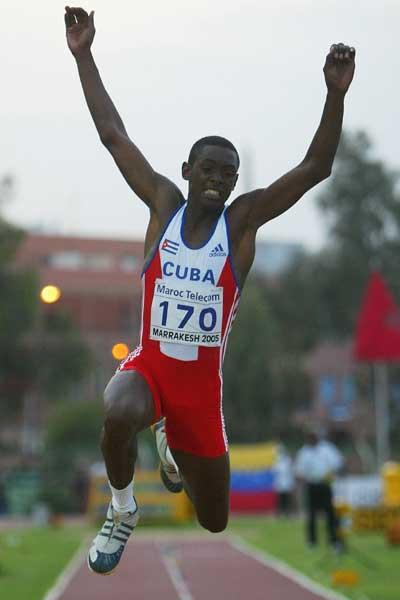 Hector Dairo Fuentes of Cuba during the Boys' Triple Jump final at the World Youth Championships (Getty Images)