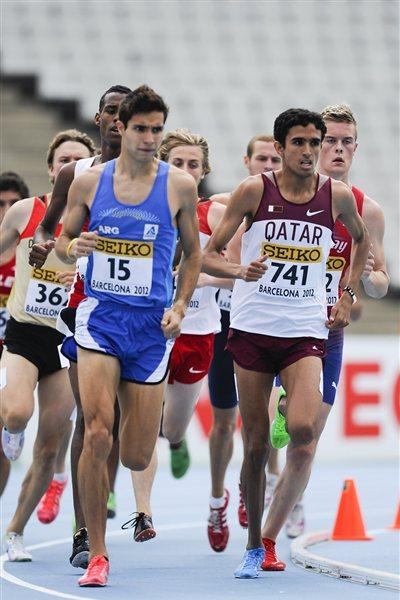 Hamza Driouch of Qatar competes during the Men's 1500 metre qualification heat on the day one of the 14th IAAF World Junior Championships in Barcelona (Getty Images)