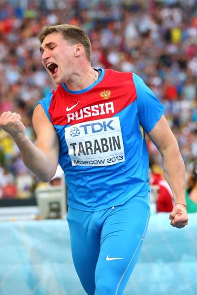 Dimitri Tarabin in the mens Javelin Throw Final at the IAAF World Athletics Championships Moscow 2013 (Getty Images)