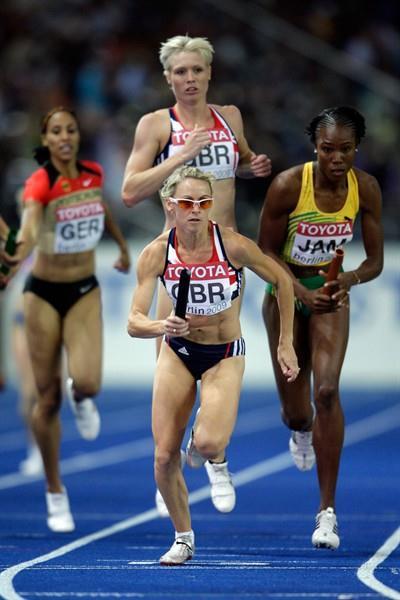 Women's 800m bronze medallist Jennifer Meadows of Great Britain & Northern Ireland takes the baton in the women's 4x400m heats in Berlin (Getty Images)