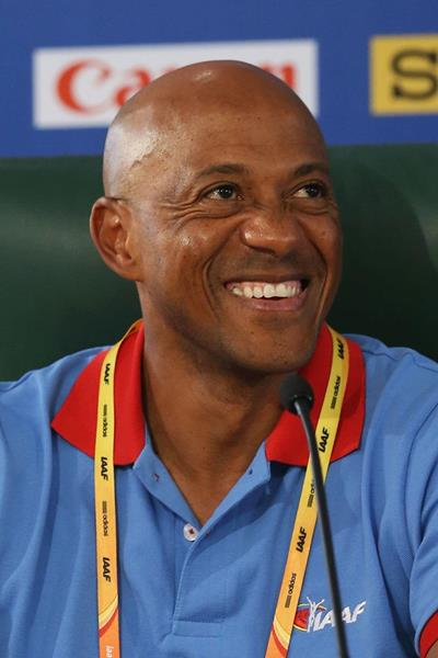 Frankie Fredericks at an IAAF Ambassadors Press Conference (Getty Images)