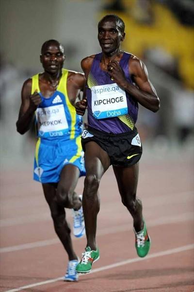 Eliud Kipchoge, the winner of the Doha 5000m (Jiro Mochizuki)