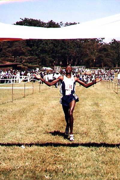 Augustine Choge winning the junior men's 8km race in Nairobi (Okoth)