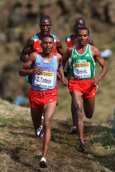 Zersenay Tadese shadowed by Kenenisa Bekele - Edinburgh 2008 (Getty Images)